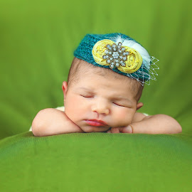 In My Hat by Sharon Fuscellaro Canale - Babies & Children Babies ( child, girl, female, green, infant, baby, newborn, hat )