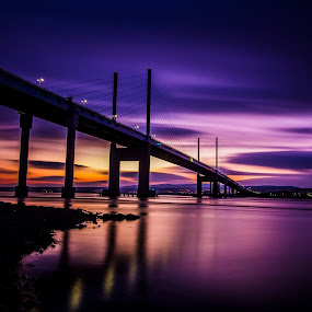 Just before dawn . by Gordon Bain - Buildings & Architecture Bridges & Suspended Structures ( 4 minute exposure, kessock bridge, dawn . )