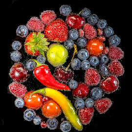 Fruit & Vegetables  Medlee by Jim Downey - Food & Drink Fruits & Vegetables ( cherry, peppper, tomato, pomegranate seeds, raspberry, lime, blueberries, strawberry. )