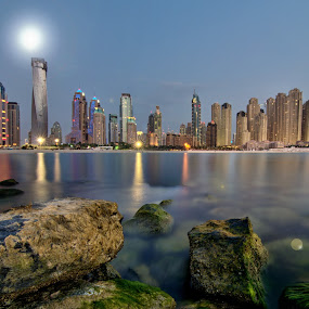 Moonlight Over Dubai by Andrew Madali - Landscapes Waterscapes