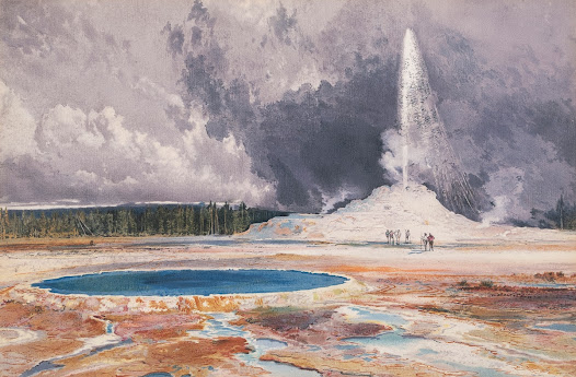 "Yellowstone had a significant influence on Moran. His first national recognition, as well as his first major financial success, came from his depictions of Yellowstone, encouraging him to sign some of his work  ""T-Y-M,"" which stood for Thomas ""Yellowstone"" Moran.  These chromolithographs were color prints created to distribute his work to a larger public."