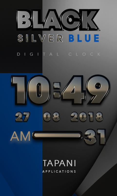 Black silverblue digital clock Screenshot 0