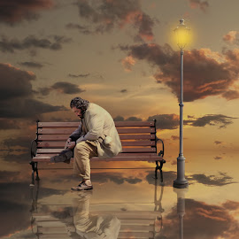 Counting my life by George Leontaras - Digital Art People ( digitalart, clouds, orange, hellas, bench, greece, fine art, people, digital, manipulation, sky, 'art, fine, light, man, photoshop )
