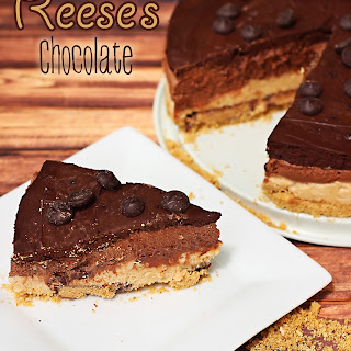 Five Layer Reese's Chocolate Peanut Butter Cheesecake. No Bake!