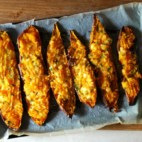 Twice-Baked Sweet Potatoes with Wensleydale and Chives