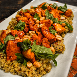 Thai Basil Chicken by Deborah Russenberger - Food & Drink Plated Food ( chicken, peanuts, quinoa, basil )