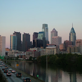 A Fall evening in Philadelphia... by John Pobursky - City,  Street & Park  Skylines ( cityscapes, freeways, schuylkill_river, pennsylvania, philadelphia )