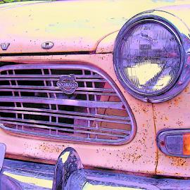 GRANNYS PINK VOLVO by William Thielen - Digital Art Things ( urban, sweden, seattle, swedish, pink, volvo, rust, classic )