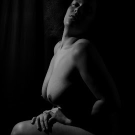Curves of V by DJ Cockburn - Nudes & Boudoir Artistic Nude ( grayscale, monochrome, home shoot, black and white, woman, crouch, off-camera flash, concealed nude, portrait )