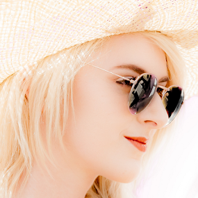 Girl in the shades by John Walton - People Portraits of Women ( blonde, pensive, heritagefocus, sunglasses, straw hat )