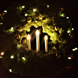 Lights in wreaths by Priscilla Renda McDaniel - Public Holidays Christmas ( lights, candles, night, wreaths,  )