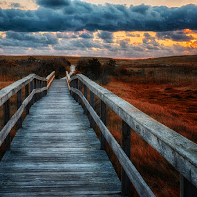 Dawn at Nauset Beach Walkway by John Klingel - Landscapes Sunsets & Sunrises