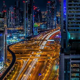 Sheikh Zayed Road by Karim Eldeghedy - Uncategorized All Uncategorized ( dubai, long exposure, cityscape, trails, nightscape )
