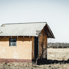 Little Getaway on the Prarie If You Dare by Rob Heber - Buildings & Architecture Decaying & Abandoned ( damaged, natural light, hills, peach colored, doorway, peeling paint, little house, oklahoma, shack, concrete block, cinder block, architecture, rustic, entrance, weathered, pasture, nature, dry grass, orange, building, overgrown, grass, shingles, sunlight, rural, field, roof, shed, wiall, building exterior, neglected, block wall, window, outdoors, bare tree, trees, out building, day, decay, abandoned, rotting )