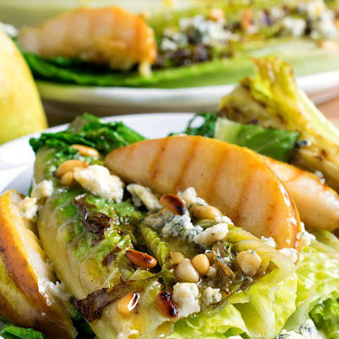 Grilled Romaine Hearts and Pears with Bleu Cheese