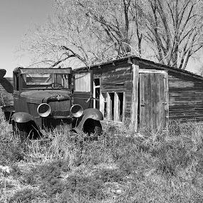 Abandoned Chevy Truck by James Oviatt - Black & White Objects & Still Life
