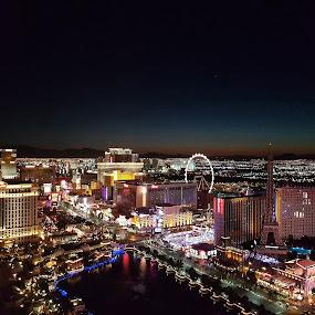 Vegas strip by Andreja Svenšek - City,  Street & Park  Night ( lights, las vegas, street, high, sunrise, view, balcony, vegas,  )