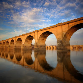 by Steven Maerz - Buildings & Architecture Bridges & Suspended Structures ( #bridge #river #harrisburg #pa #morning )