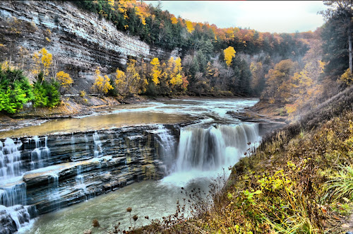 Water falls at Letchworth by Jim Davis - Landscapes Waterscapes ( water, waterfalls, reds, yellows, fall colors, raging water, oranges, natures colors )