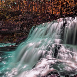 Wadsworth Falls in Summer by Gordon Koh - Landscapes Waterscapes ( forest, waterfalls, green, motion, nature, connecticut, long exposure, water, trees, rocks, stream, wadsworth falls, action, travel, landscape, park )