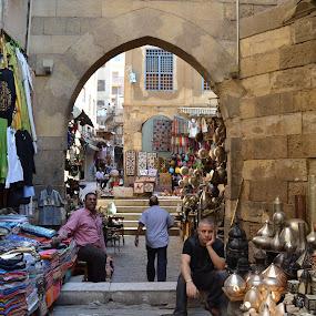 Khan el Khalili by Mica Parada Larrosa - City,  Street & Park  Street Scenes ( cairo, khan, street, al cahira, kalili, khan el khalili, seller, egipto, egypt )