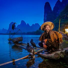 Twilight Finish by David Long - People Professional People ( li river, cormorant fisherman, guilin )
