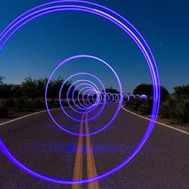 Twilight Zone by Leigha Reeves - Digital Art Places ( light painting, street photography, city at night, street at night, park at night, nightlife, night life, nighttime in the city )