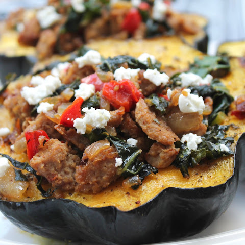 Roasted Acorn Squash, Stuffed with Turkey Sausage, Kale & Goat Cheese {Amish Family Recipes}