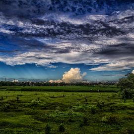 Color of Nature by Debajit Bose - Landscapes Cloud Formations ( medows, blue sky, sky, nature, grass, green, beautiful, cloud, cloud formation, places, travel, landscape )
