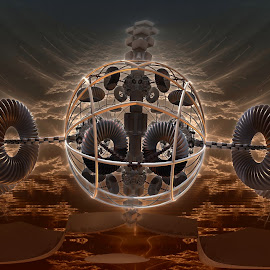 Steampunk Flyer by Rick Eskridge - Illustration Sci Fi & Fantasy ( jwildfire, mb3d, fractal, steampunk, acdsee 19, twisted brush )