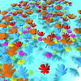 Fantasy flora by TONY LOPEZ - Illustration Flowers & Nature ( unique, 3d, cgi, colors, artistic, poster, interesting, flowers, fairytale )