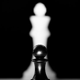 by Dragos Tranca - Digital Art Things ( child, black and white, chess, king, pawn )