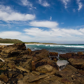 Scarborough Beach area, Cape Town. by Gavin Smith - Landscapes Beaches ( clouds, wind, sea, beach, rocks, panorama )