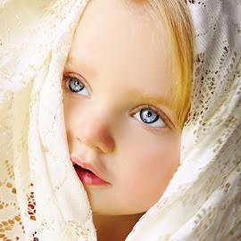 Peeking Through Lace by Cheryl Korotky - Babies & Children Child Portraits