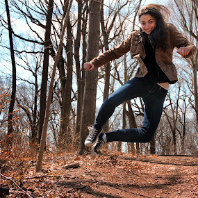 Leap of Faith by Chris Mare - People Portraits of Women ( color, woman, leaping, woods, portrait, leap, jump )
