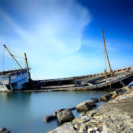 Broken Wooden Ships by Charles Nedved - Transportation Boats ( sky, ship, sea, woods,  )