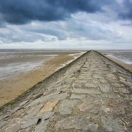 Road to Infinity by Jiri Cetkovsky - Landscapes Beaches ( cuxhaven, sea, road, beach, infinity )