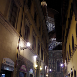 Florentine's night by Jessica Pollice - City,  Street & Park  Historic Districts ( history, florence, dome, monument, chapel, view, city at night, street at night, park at night, nightlife, night life, nighttime in the city )