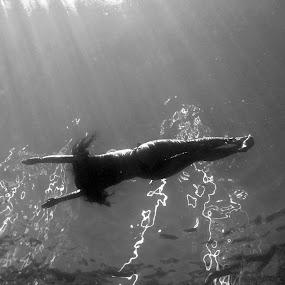 Underwater world by Marc-Antoine Kikano - Sports & Fitness Swimming ( water, blackandwhite, girl, vacation, nature, underwater, bw, beach, swimming )