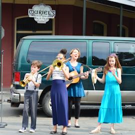 Street Performers by Misty Hanna - City,  Street & Park  Street Scenes ( kids, street scene )