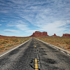 The Road Continues.... by Kevin Whitaker - Landscapes Travel ( monument valley, forrest gump, desert, phillips photography tours - ray begay (navajo guide): 928-429-0042, travel )