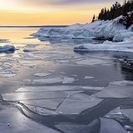 Superior morning by Karin Lyke - Landscapes Waterscapes ( water, ice flow, ice, lake superior, morning )