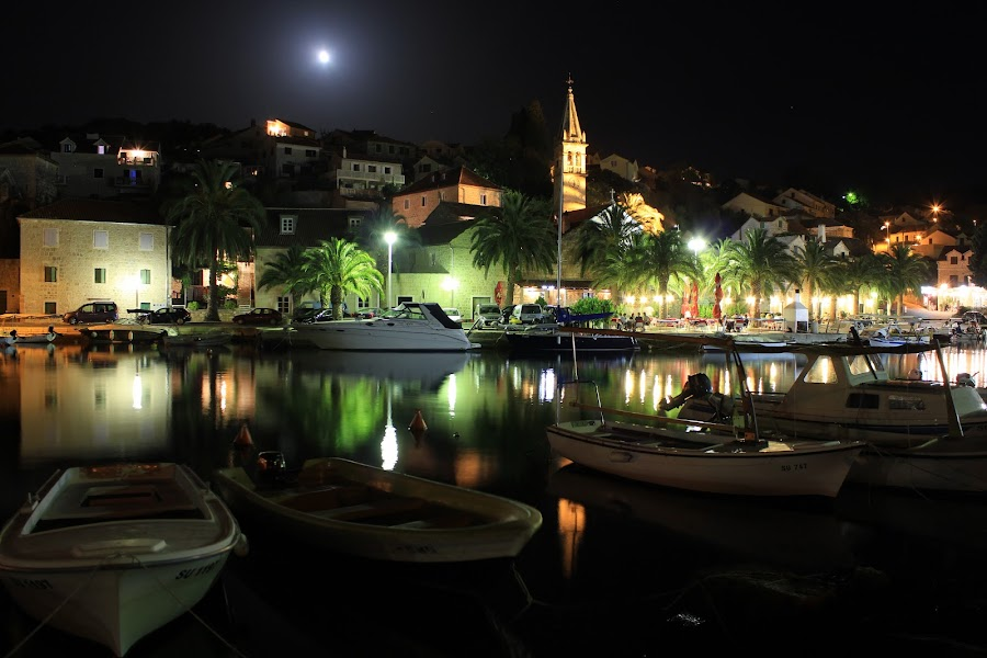 Splitska, island Brac, Croatia by Davor Kapetan - City,  Street & Park  Street Scenes ( night, lights )