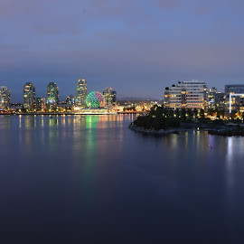 False Creek by Cory Bohnenkamp - City,  Street & Park  Skylines ( skyline, false creek, blue hour, vista, evening, dusk, vancouver, city )