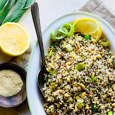 Toasted Pine Nut and Leek Quinoa Salad {Gluten Free}