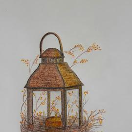 Autumn Lantern by Paula Moore - Drawing All Drawing ( pencil, draw, lantern, autumn, fall, art, artist, flowers, pencilart, artwork, drawing )