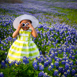 Blinded by Blue Bonnets by Larry Crawford - Babies & Children Children Candids ( texas, candid, kids, sunglasses, hat,  )