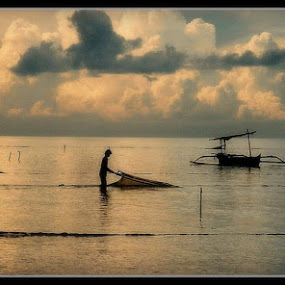 Bali  in the 80's, Fishing early morning by Paul White - Landscapes Waterscapes ( bali, fishing )