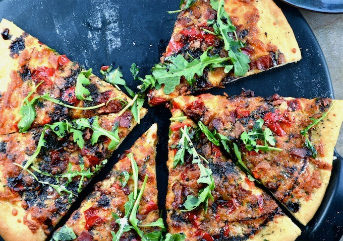 Pizza With Eggs, Roasted Red Peppers, Olives, And Arugula Recipes ...