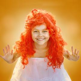 Dolly by Adina Ionut - Babies & Children Child Portraits ( child, orange, girl, doll, smile )